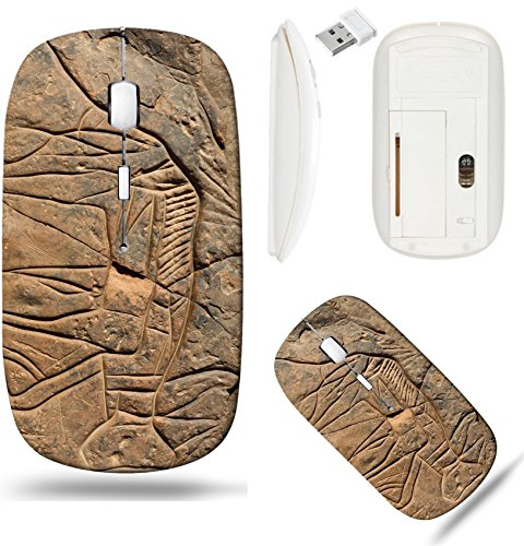(Liili Wireless Mouse White Base Travel 2.4G Wireless Mice with USB Receiver, Click with 1000 DPI for notebook, pc, laptop, computer, mac book Prehistoric rock engraving in the Sahara Desert)