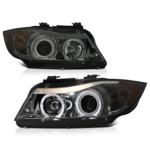 [For 2006-2008 BMW E90 E91 3-Series Halogen Model] LED Halo Ring Chrome Smoke Projector Headlight Headlamp Assembly, Driver & Passenger Side
