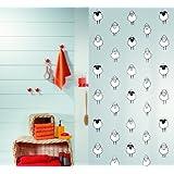 Spirella Lana PEVA Opaque Plastic Shower Curtain with Sheep Pattern, 180 x 200 cm, Black/ White by Spirella