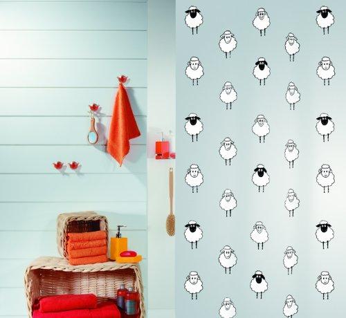 Amazon Spirella Lana Black Plastic PEVA Shower Curtain With Sheep 71x79in 180x200cm Home Kitchen