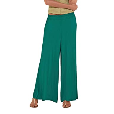 Go Colors Palazzo Pants For Women Free Size Peacock Green Amazonae