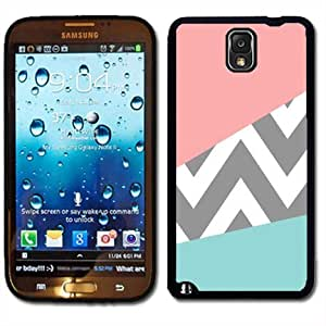 Samsung Galaxy Note 3 Black Rubber Silicone Case - Pink and Baby Blue Design with grey Chevron Pattern Cute