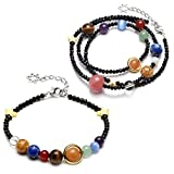 CrystalTears 2pcs Solar System Bracelet Necklace Universe Galaxy The Nine Planets Guardian Star Healing Jewelry