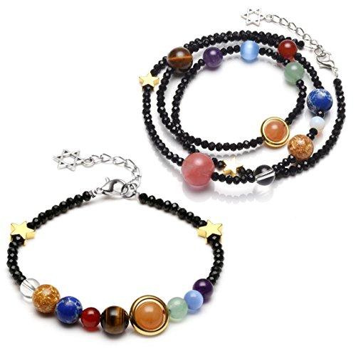 CrystalTears 2pcs Solar System Link Bracelet Universe Galaxy The Nine Planets Guardian Star Healing Jewelry-Black Beads Black Solar Bracelet