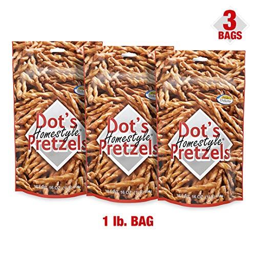 Dot's Homestyle Pretzels 1 lb. Bag (3 Bag) 16 oz. Seasoned Pretzel Snack Sticks