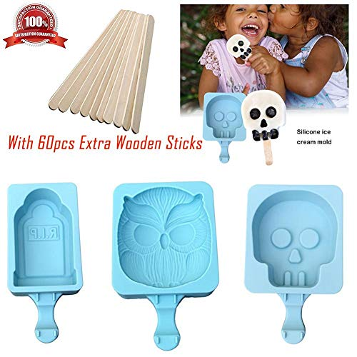 3 Pack Ice Cream Moulds Silicone Popsicle Ice Molds - Halloween Ghost Head Tombstone Owl Ice Lolly Maker with 60pcs Extra Wooden Sticks