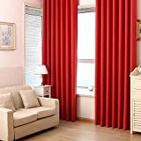 Room Darkening Thermal Insulated Blackout Grommet Window Curtain Panels For Bedroom Set of 1 ,Red,39.37 x 84.65 in