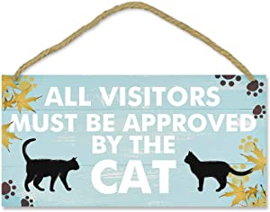 TOARTi Funny Cat Pet Lover Wood Sign-12.5x25cm,All Visitors Must Be Approved by The Cat Wooden Plaque Hanging Wall Art, Lovely Cat Footprint Maple Leaves Door Home Decoration