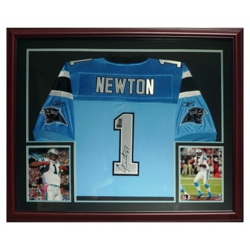 (Cameron Newton Autographed Carolina Panthers (Blue #1) Deluxe Framed Jersey- Newton)