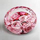 ZDD European Crystal Glass Ashtray/Creative Personality Home Practical Ashtray/Decorative Ornaments Gift Six Optional (ø15cm H4cm) (Color : Rose About)
