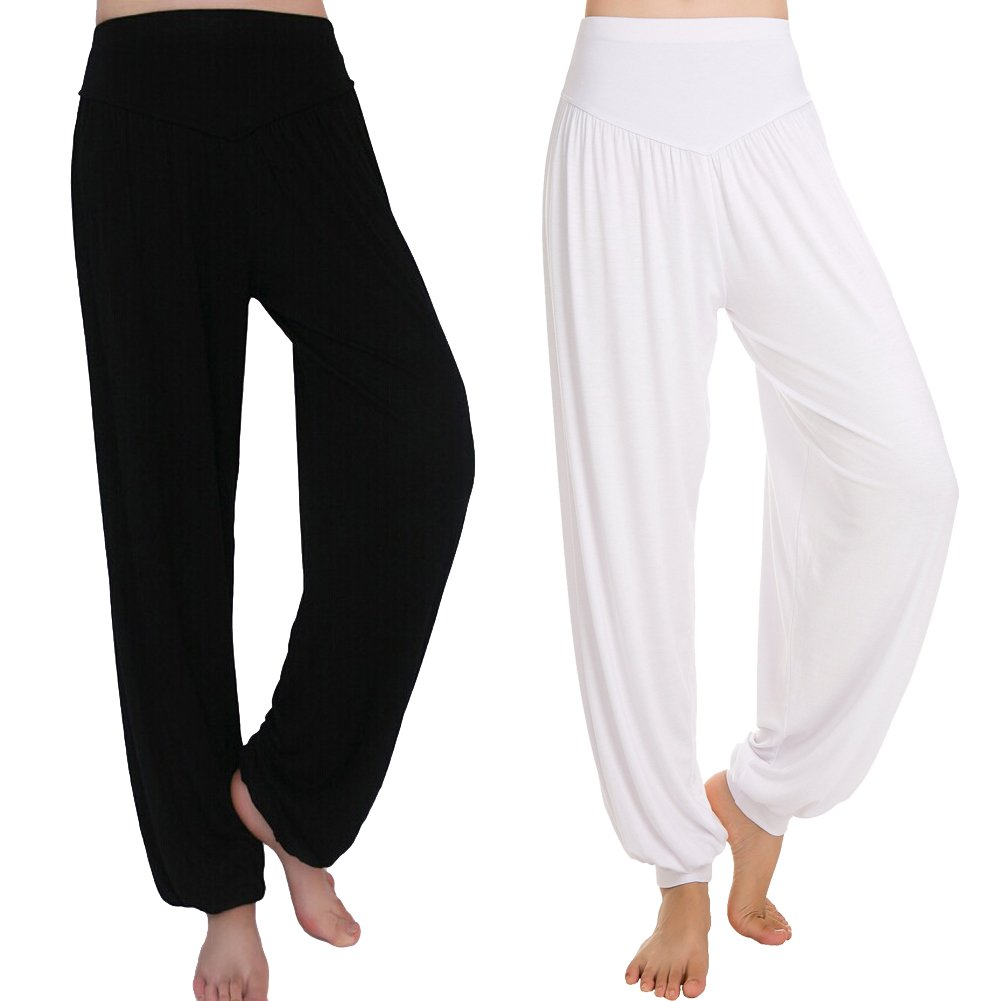 Urban CoCo Womens' Solid Color Soft Elastic Waistband Fitness Yoga Harem Pants Bingo E-Commerce