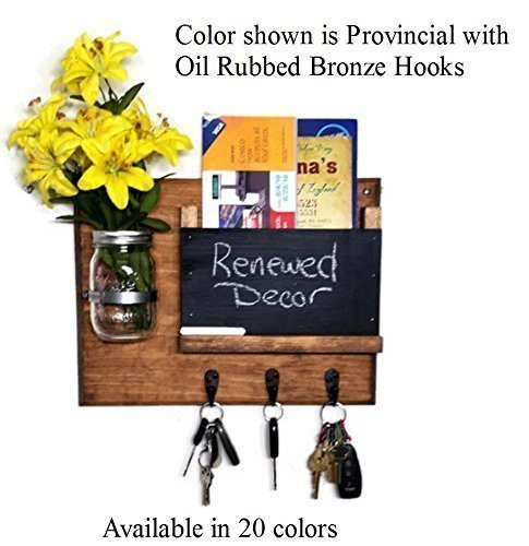 Renewed Décor Hamilton Mail Organizer with a Decorative Mason Jar Vase Featuring 3 Key Hooks and Chalkboard, available in 20 Stains