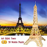 Eiffel Tower 3D Wooden Puzzle for Adults Kids Ages 8 up,3D Puzzles Family Game Toys Gifts
