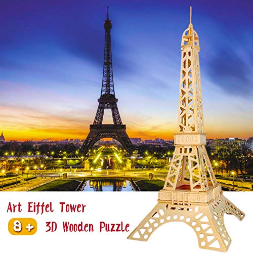 Eiffel Tower 3D Wooden Puzzle for Adults Kids Ages 8 up,3D Puzzles Family Game Toys Gifts by HongM