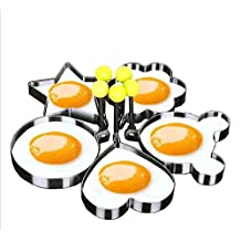 URToys Lovely 5Pcs/Set Stainless Steel Fried Egg Pancake Mold Kitchen Cooking Tools Love Star Shaped Cook Fried Egg Mold