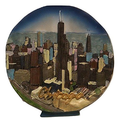 (3D Willis Tower, Hancock Building & Chicago City Skyline on Ceramic Decorative Plate - Chicago Souvenirs)