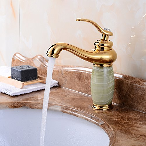 T redOOY Faucet Taps Copper Antique Faucet Hot And Cold Basin Washbasin redating golden Faucet Jade Marble Faucet, (Marble)
