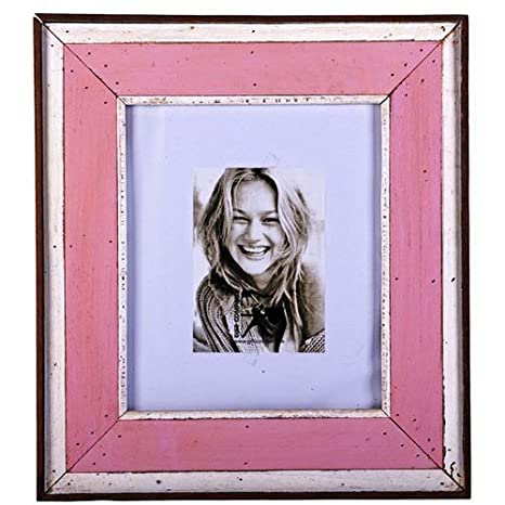 Marco para 1 foto con madera de casetas de playa recicladas aspecto vintage en color rosa blanco marrón 42 x 47 cm: Amazon.es: Hogar