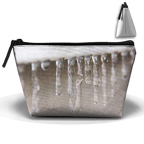 pengyong Icicle Crystal Makeup Bag Large Trapezoidal Storage Travel Bag Wash Cosmetic Pouch Pencil Holder Zipper Waterproof (Icicle Stuffed Animal)