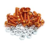 uxcell 20pcs M6 Orange Aluminum Alloy Hex Socket Head Bolts Screws Nuts for Motorcycle