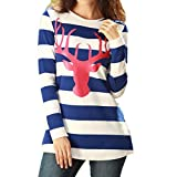kitchen appliance packages black friday 2017 Women Tees, 2017 New Hot Sale Christmas Fashion Stripe Blouse Round Collar Long Sleeve Christmas Deer Pattern Casual T-shirt by Neartime (S, Blue)