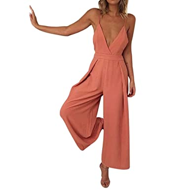 8d8a4de9488a HARRYSTORE Women Causal V Neck Knot Back Jumpsuit Clubwear Sexy Sleeveless  Spaghetti Strap Wide-Leg Playsuit Romper: Amazon.co.uk: Clothing