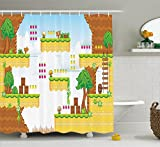 Ambesonne Video Games Shower Curtain Set, Cartoon Retro Computer Graphic Kids Western Design Box Cloud Fun Adventure 90's, Fabric Bathroom Decor with Hooks, 70 Inches, Multicolor