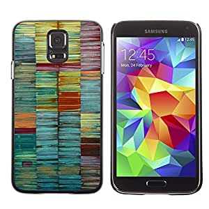 LECELL--Funda protectora / Cubierta / Piel For Samsung Galaxy S5 SM-G900 -- Colors Pastel Teal Lines Brush --