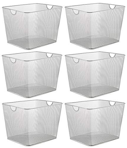 YBM HOME Household Wire Mesh Open Bin Shelf Storage Basket Organizer for Kitchen, Cabinet, Fruits, Vegetables, Pantry Items Toys 1182s-6 (6, 15 x 12 x 10.8) (Basket Mesh Storage)