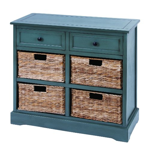 Deco 79 96183 Wood Wicker Basket Dresser, 30