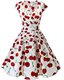 bbonlinedress Women's 50s 60s A Line Rockabilly Dress Cap Sleeve Floral Vintage Swing Party Dress White Red Cherry 3XL