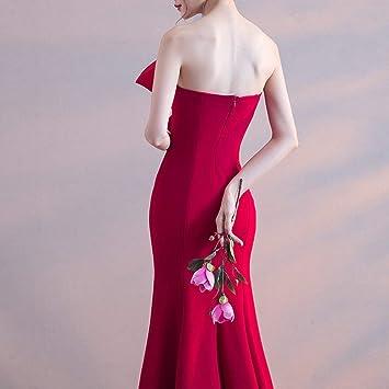 TY-ER słodki łuk pleciona sukienka na klatce piersiowej długa wąska sukienka ogon sukienka syrenka suknia wieczorowa, czerwone wino, s: Sport & Freizeit