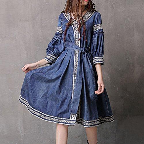 Kurzarm Damen LH82071 Denim Kleider DISSA Blau Partykleid Kleid Maxi Linie A wE6yyRd5q