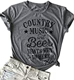 kikisa Country Music and Beer That's Why I'm Here T Shirt Women's Short Sleeve Tops Blouse (Small, Grey)
