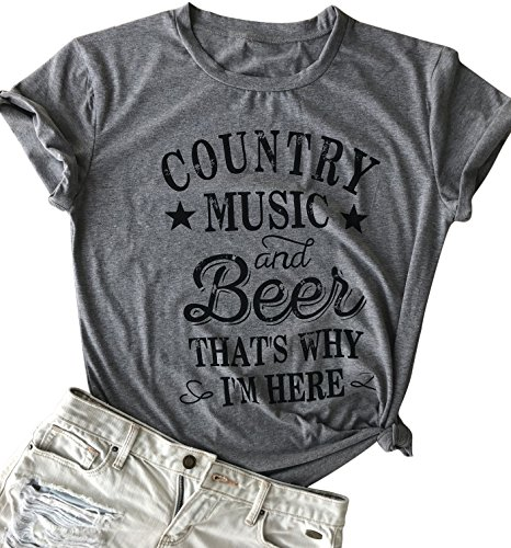LANMERTREE kikisa Country Music and Beer That's Why I'm Here T Shirt Women's Short Sleeve Tops Blouse (Medium, Grey) ()