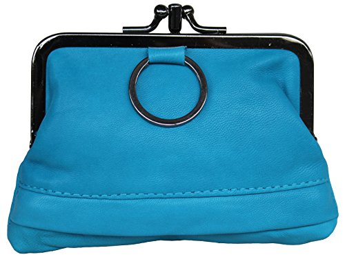 Visnow Triple Metal Fram Genuine Soft Leather Small Clutch Purse Wallet (Blue) ()