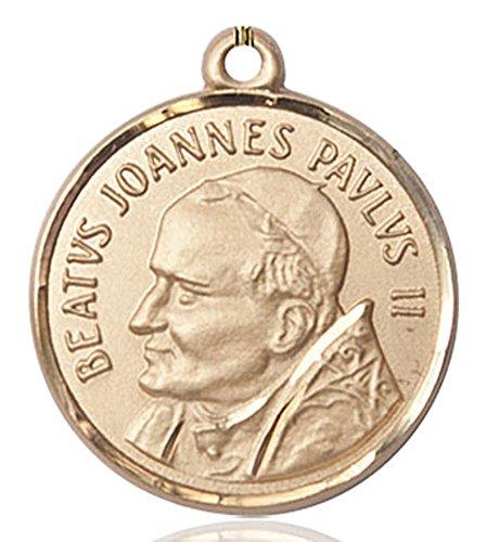 Pope John Paul Pendant Medal - Heartland Store Men's Round Gold Filled St. Pope John Paul II Medal - Pendant Only