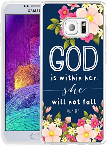Note 5 Case Christian Sayings,Hungo Soft TPU Silicone Protective Cover Compatible with Samsung Galaxy Note 5 God is Within Her She Will Not Fall Psalm 46:5 Sayings