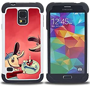 """SAMSUNG Galaxy S5 V / i9600 / SM-G900 - 3 en 1 impreso colorido de Altas Prestaciones PC Funda chaqueta Negro cubierta gel silicona suave (Comic hueso regalo perro"""")"""