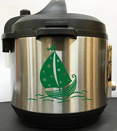 Star Sailboat Decal Sticker - Green Vinyl Decal Sticker for Instant Pot Instapot Pressure Cooker