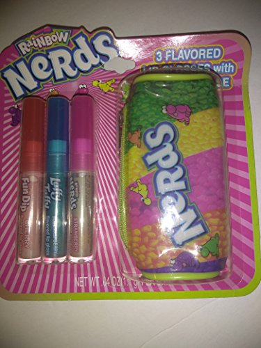 Rainbow Nerds 3 flavored lip glosses w/carrying case - Fun Dip Cherry, Laffy Taffy Blue Raspberry, Nerds Strawberry