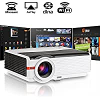 200 LCD LED HD Android Projector Wifi 4200 Lumen WXGA, Multimedia Home Cinema Theater Video Projector 1080P Support HDMI VGA USB SD AV TV Interface for Movie TV Video Game Home Outdoor Entertainment