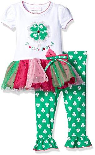 [Appliqued Knit Tutu Dress with Legging Set] (Baby St Patricks Day Clothing)