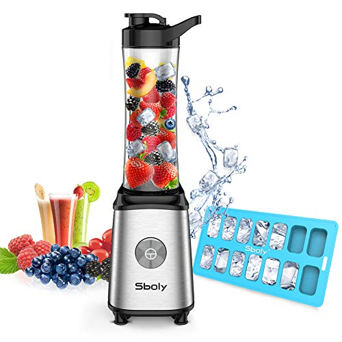 Personal Blender, Sboly Smoothie Blender Single Serve Small Blender for Juice Shakes and Smoothie with 20 oz Tritan BPA-Free Blender Cup, 300W (with Silicone Ice Cube Tray/Bottle Brush)