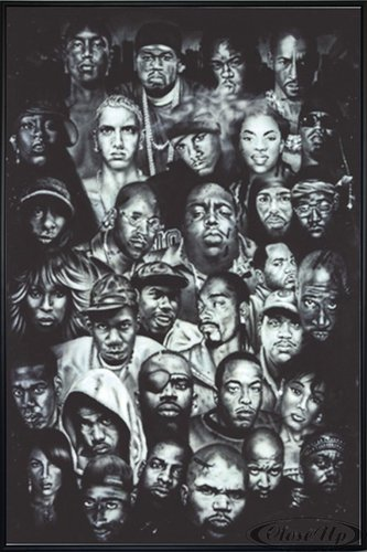Close Up Hip Hop Poster (93x62 cm) gerahmt in: Rahmen schwarz
