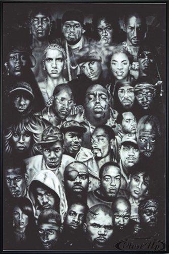 Close Up Hip Hop Poster (93x62 cm) gerahmt in: Rahmen schwarz