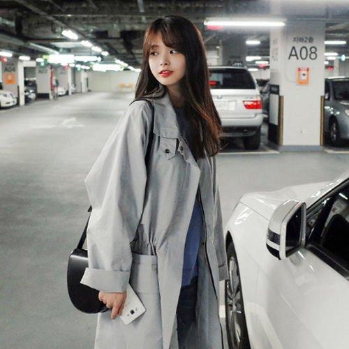 Chica Primavera Mayihang anorak abrigo largo Gris