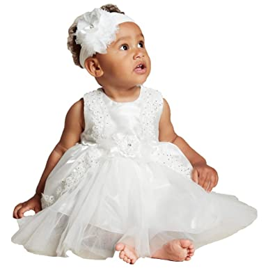 e7eb5a5dc ShineGown Baptism Dress for Baby GirlsTulle Applique Christening Gowns with  Handmade Flower Headband for Infant Ankle Length 0-24 Months: Amazon.co.uk:  ...