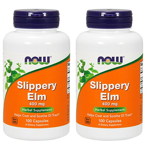Now Foods Slippery Elm 400mg, Capsules, 100-Count (Pack of 2) For Sale