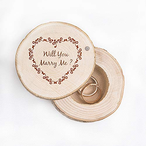 JETPRINT Will You Marry Me? Cute Wedding Ring Box - Custom Ring Bearer - Rustic Wooden Ring Box - Best Way to Propose by JETPRINT